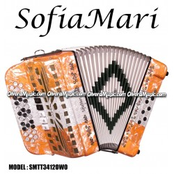 SOFIAMARI 2-Tone Diatonic Button Accordion - Orange/White