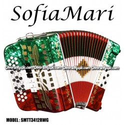 SOFIAMARI 2-Tone Diatonic Button Accordion - Red/White/Green