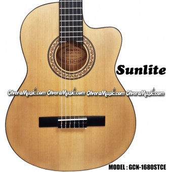 SUNLITE Thin Body Classical A/E Guitar w/Built-In-Electronics - Natural