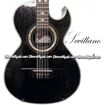 SEVILLANO Traditional Bajo Quinto Sapele Wood - Sparkle Black