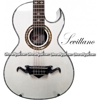 SEVILLANO Traditional Bajo Quinto Sapele Wood - Sparkle White
