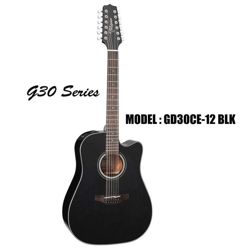 takamine g30 series acoustic electric 12 string guitar black olvera music. Black Bedroom Furniture Sets. Home Design Ideas