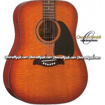 OSCAR SCHMIDT by Washburn Dreadnought Acoustic Guitar - Flame Yellow Sunburst