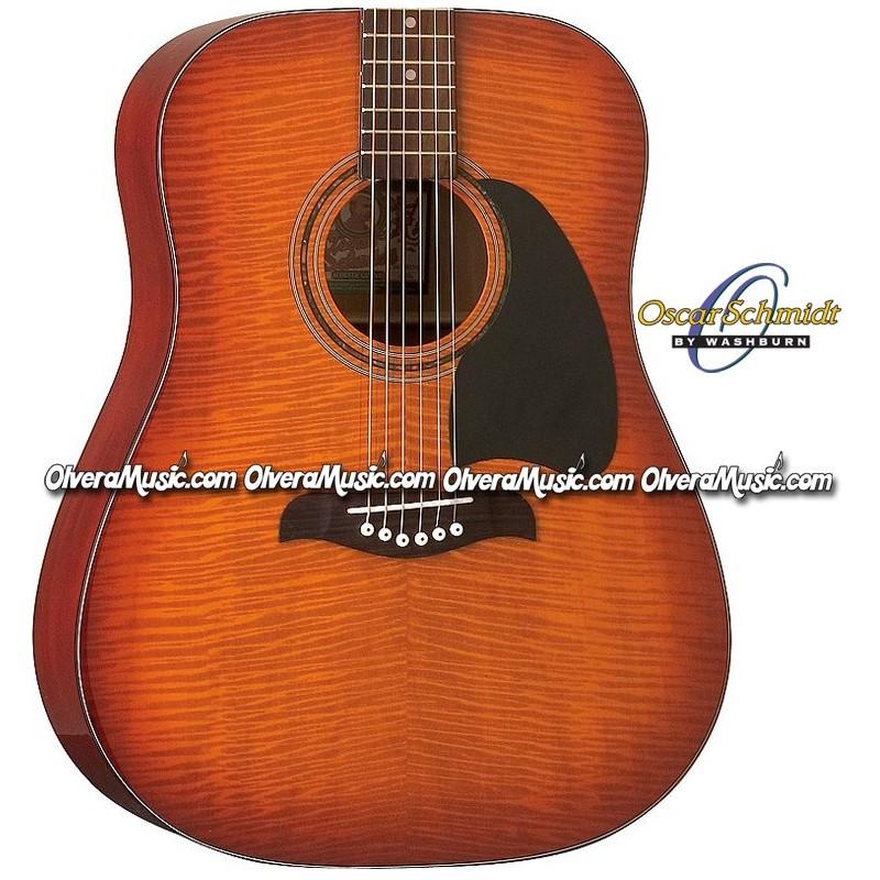 oscar schmidt by washburn dreadnought acoustic guitar flame yellow sunburst olvera music. Black Bedroom Furniture Sets. Home Design Ideas