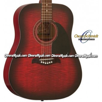 OSCAR SCHMIDT by Washburn Dreadnought Acoustic Guitar - Flame Black Cherry