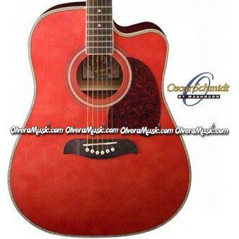 OSCAR SCHMIDT by Washburn Dreadnought Acoustic-Electric Guitar - Trans Red