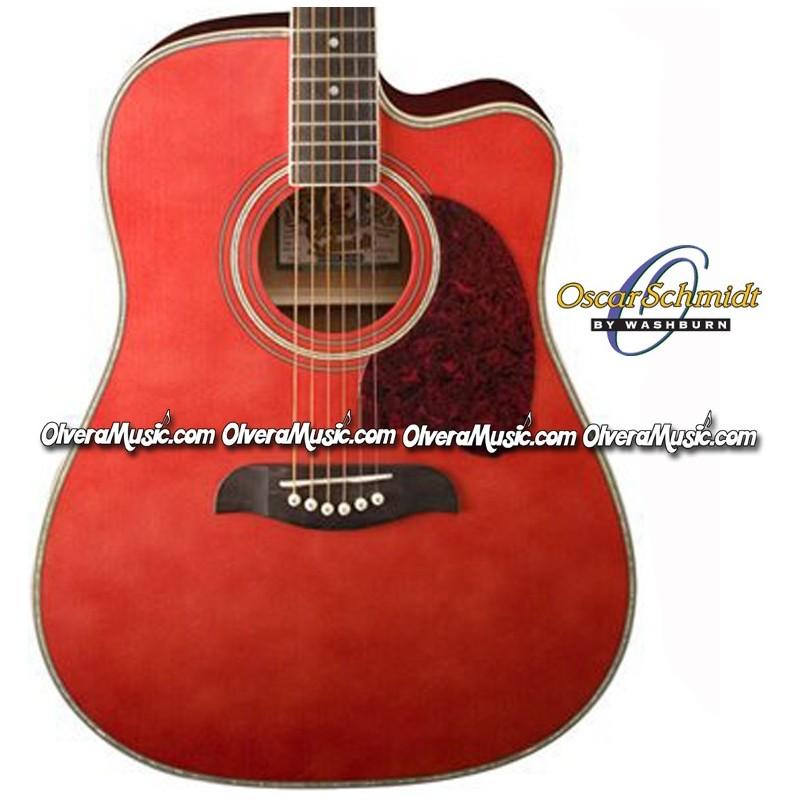 oscar schmidt by washburn dreadnought acoustic electric guitar trans red olvera music. Black Bedroom Furniture Sets. Home Design Ideas