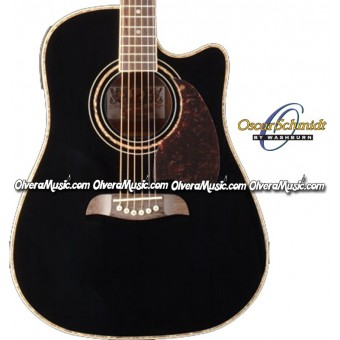 OSCAR SCHMIDT by Washburn Dreadnought Acoustic-Electric Guitar - Black