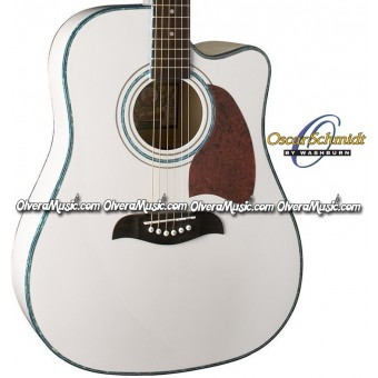 OSCAR SCHMIDT by Washburn Dreadnought Acoustic-Electric Guitar - White