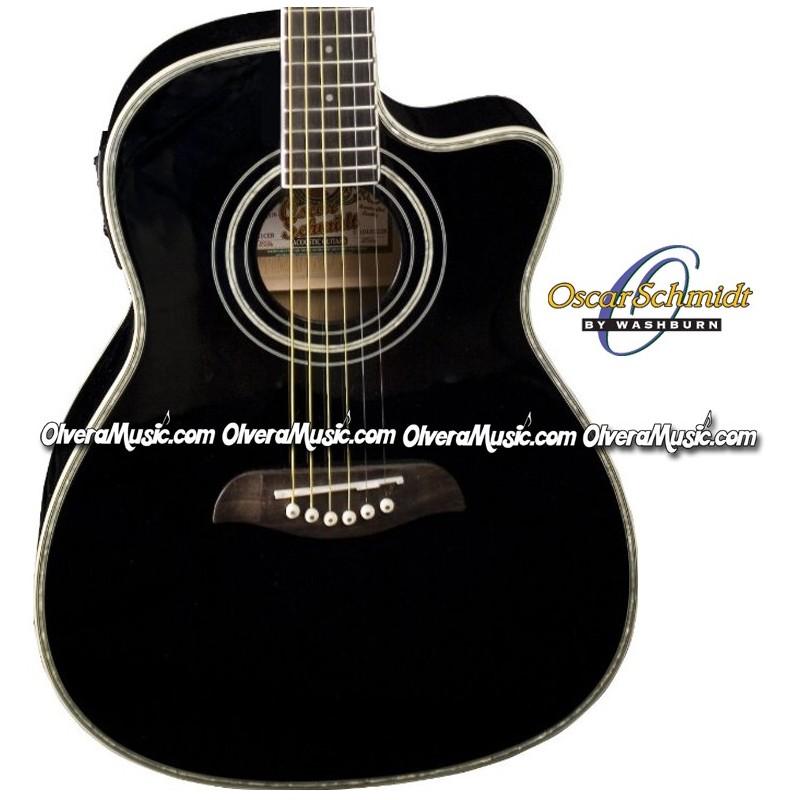 oscar schmidt by washburn acoustic electric 3 4 guitar black olvera music. Black Bedroom Furniture Sets. Home Design Ideas