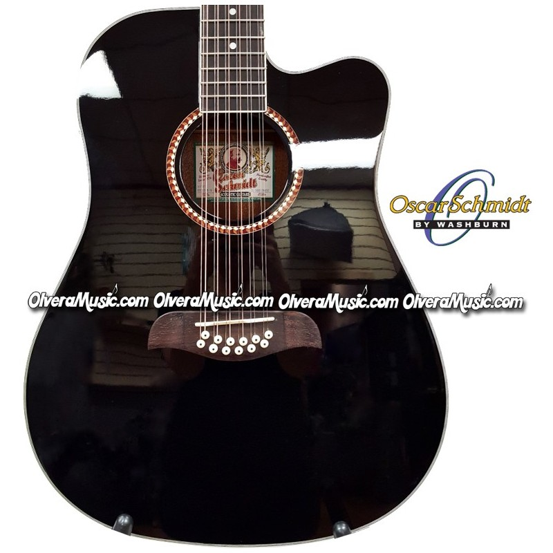 oscar schmidt by washburn dreadnought a e 12 string cutaway guitar black olvera music. Black Bedroom Furniture Sets. Home Design Ideas