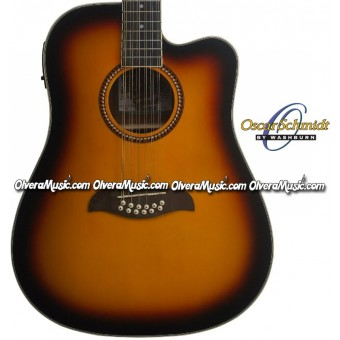 OSCAR SCHMIDT by Washburn Dreadnought A/E 12-String Cutaway Guitar - Tobacco Sunburst