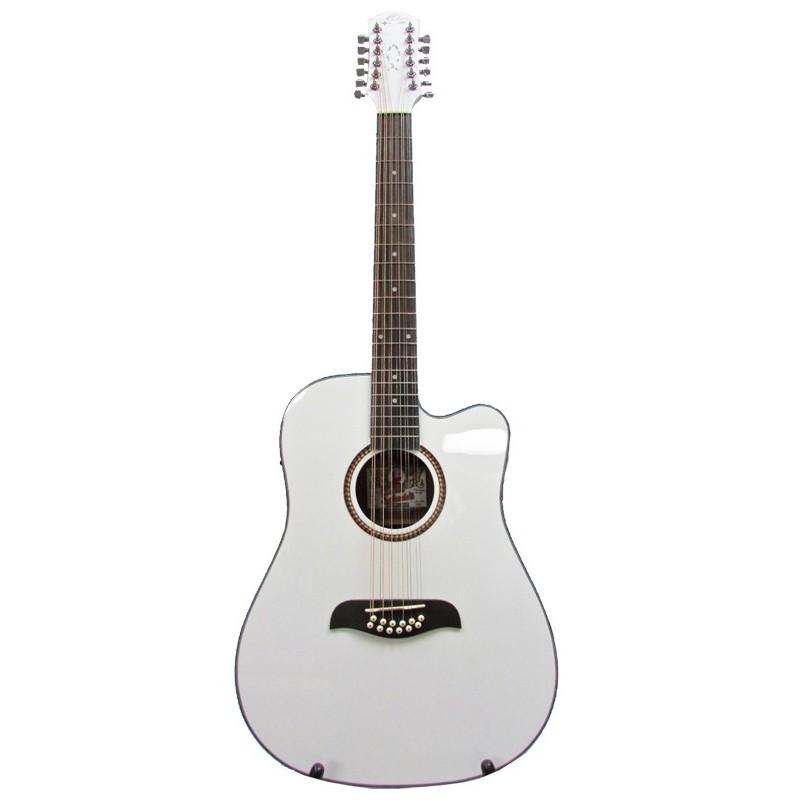 oscar schmidt by washburn dreadnought a e 12 string cutaway guitar white olvera music. Black Bedroom Furniture Sets. Home Design Ideas