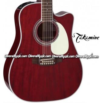 TAKAMINE Serie John Jorgenson Guitarra Electro-Acustica de 12 Cuerdas - Rojo Brillante