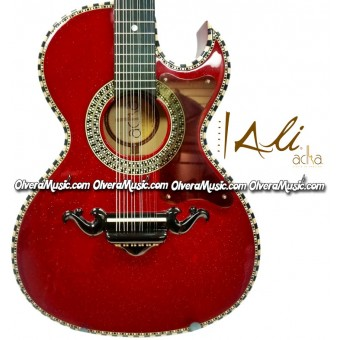 ALI ACHA 12-String Bajo Quinto Style Acoustic Guitar - Glitter Red