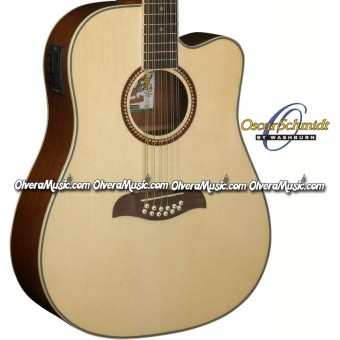 OSCAR SCHMIDT by Washburn Dreadnought A/E 12-String Cutaway Guitar - Natural