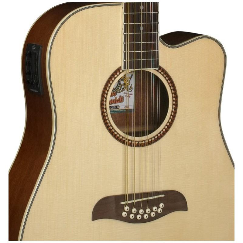 oscar schmidt by washburn dreadnought a e 12 string cutaway guitar natural olvera music. Black Bedroom Furniture Sets. Home Design Ideas