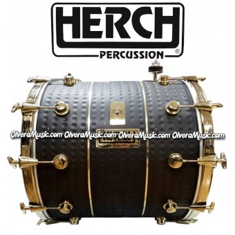 HERCH Bass Drum 20x24 Black w/Gold Color Hardware 12-Lug
