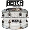 HERCH Snare 14x8 White Engraved 10-Lugs