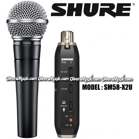SHURE Vocal Microphone w/XLR to USB Signal Adapter