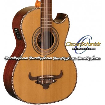 OSCAR SCHMIDT by Washburn Acoustic/Electric Traditional Bajo Sexto - Natural
