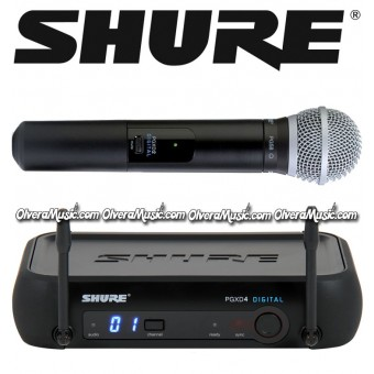SHURE Micrófono Vocal Inalámbrico de Mano - Sistema Vocal PG58 Digital