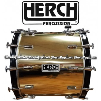 HERCH Bass Drum 20x24 Solid Gold Color Black Hoops 12-Lug