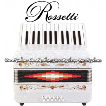ROSSETTI Piano Accordion 12-Bass / 25-Key - White