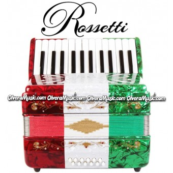ROSSETTI Piano Accordion 12-Bass / 25-Key - Tri-Color Red-White-Green