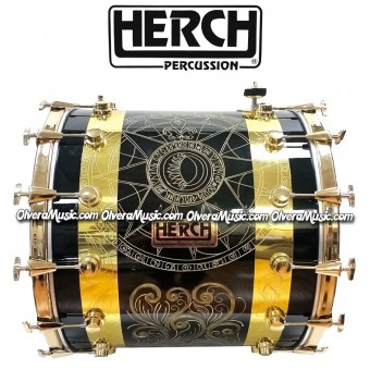 Herch 24x22 Tambora Grabada Color Negro 12-Afinadores