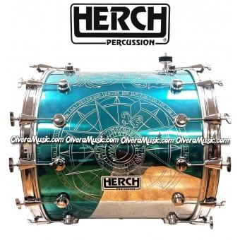 Herch 20x24 Tambora Diseño de Compas/Grabada/Color Turquesa