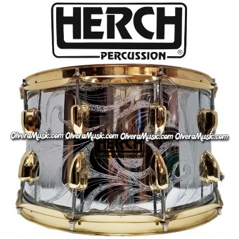 HERCH Snare 14x8 Chrome/Engraved w/Gold Color Hardware