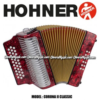 HOHNER Corona II Classic Button Accordion - Pearl Red