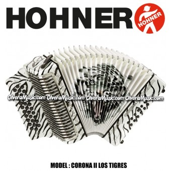 HOHNER Corona II Los Tigres Series Button Accordion - Pearl White