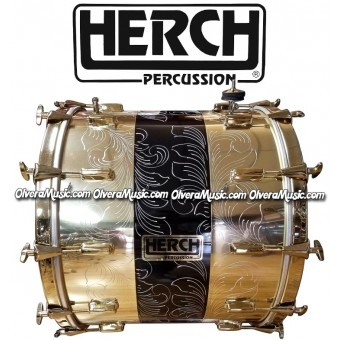 HERCH Bass Drum 20x24 Gold Color w/Black Engraved 12-Lug
