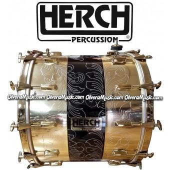 HERCH Bass Drum 20x24 Gold Color w/Black Engraved 12-Lug