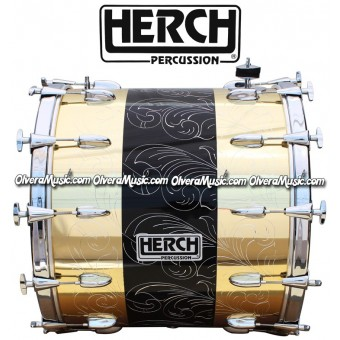 Herch 22x20 Bass Drum w/Engraving Gold/Black Color Combination 12-Lugs