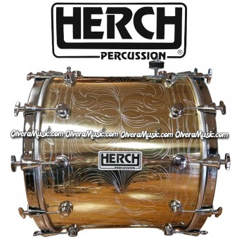 HERCH Bass Drum 20x24 Gold Color Engraved 12-Lug