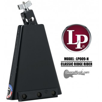 "LP Rock Classic Ridge Rider Cowbell - 8"", Mountable, Black Finish"