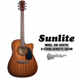 SUNLITE Full Sized Acoustic Guitar 6 String Cutaway w/EQ Slim Body