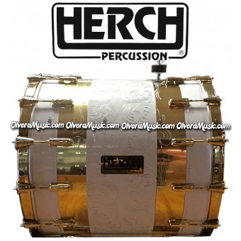 HERCH Bass Drum 22x24 Engraved White w/Gold Color Trim