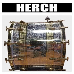 HERCH Bass Drum 20x24 Engraved Chrome w/Gold Color Accents 12-Lug