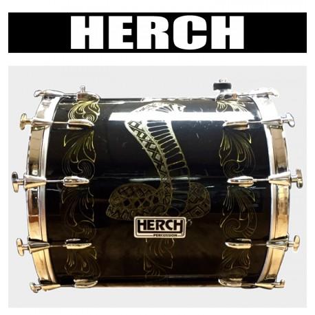 HERCH Bass Drum 22x24 Black Engraved Cobra