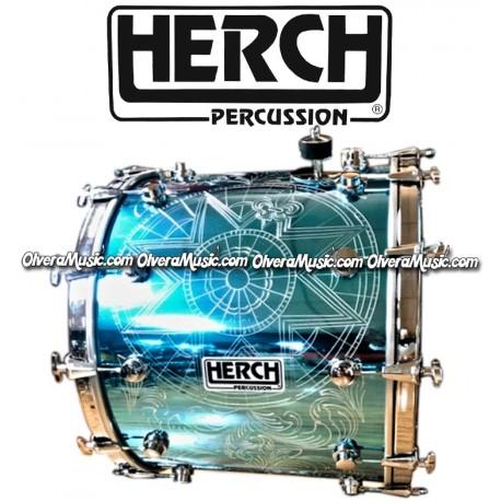 HERCH Bass Drum 20x24 Turquoise w/Engraving 12-Lug