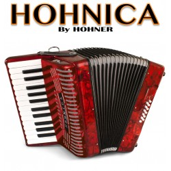 HOHNICA by Hohner Piano Accordion 12 Bass - Pearl Red