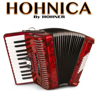 HOHNICA by Hohner 48-Bass Piano Accordion - Pearl Red