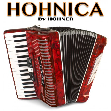 HOHNICA by Hohner 72-Bass Piano Accordion - Pearl Red
