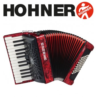 HOHNER Bravo II 48 Piano Accordion - Pearl Red