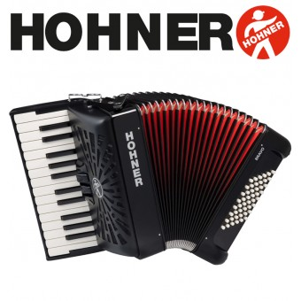 HOHNER Bravo II 48 Piano Accordion - Jet Black