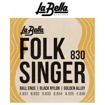 LaBella (830) Folk Singer Cuerdas Negras de Nylon Para Guitarra Clasica